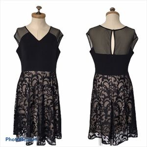 Maggie London Fit & Flare Black / Nude Lace Dress